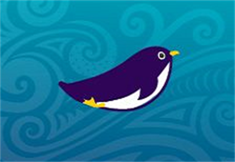 Purple Penguin on Blue background.
